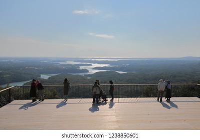 ISE JAPAN - NOVEMBER 10, 2018: Unidentified people visit Yokoyama viewing deck in Shima city Japan.