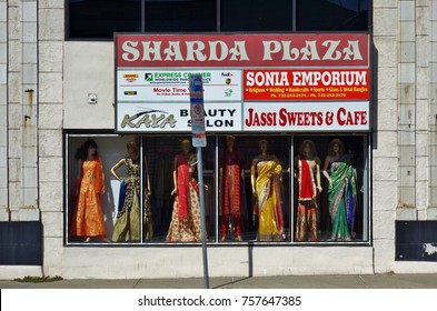 ISELIN, NJ -1 OCT 2017- Indian stores in New Jersey. The town of Iselin near Edison, NJ, has a large South Asian population.