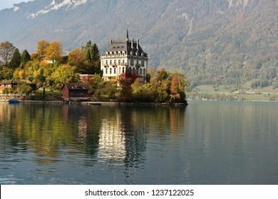 Iseltwald by Lake Brienz in the Bernese Oberland region of Switzerland