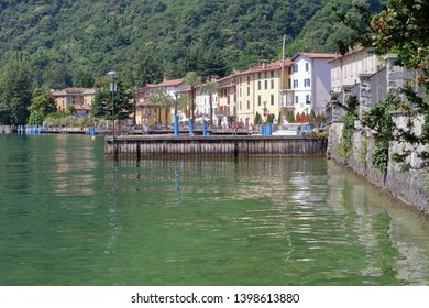 iseo lake and riva di solto village in italy