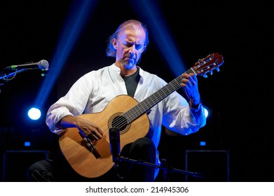 """ISEO,ITALY - AUGUST 29:  exhibition live of the  italian guitar player Giorgio Signorile at the event """"Acoustic Franciacorta 2014"""",29 August ,2014 in Iseo,Italy"""