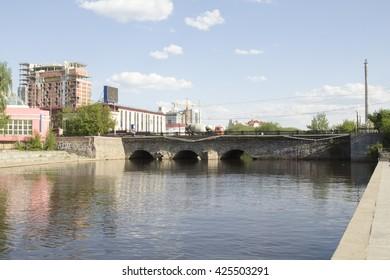 Iset River and Stone Bridge. Yekaterinburg. Russia