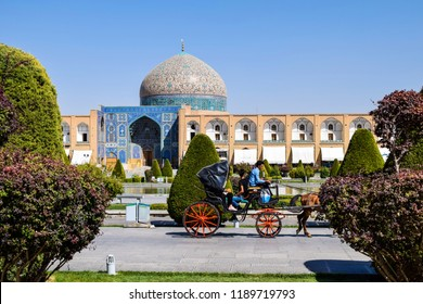 Isfahan (Esfahan), Iran - September 28, 2016: Barouche car in the Imam Square which is know as Naqsh-e Jahan Square in Isfahan, Iran