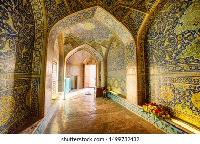 Isfahan, Iran - 24 October, 2018: Amazing vaulted arch passageway in Sheikh Lotfollah Mosque. Awesome Persian interior. The Muslim place is a popular tourist attraction of the Middle East.