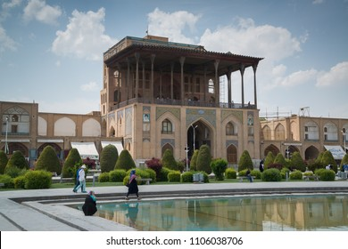Isfahan, Iran, april 29, 2018: Ali Qapu Palace, a grand palace along with the Naqsh-e Jahan Square is UNESCO World Heritage Site in Isfahan, Iran.