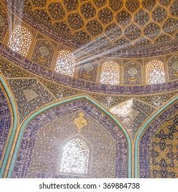 Isfahan, Iran - December 13, 2015: Sheikh Lotfollah Mosque at Naqhsh-e Jahan Square in Isfahan, Iran. Interior view