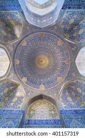 Isfahan, Iran - December 13, 2015: The Shah Mosque  at Naqhsh-e Jahan Square in Isfahan, Iran. Ceiling view