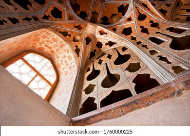 ISFAHAN, IRAN: Interior of Persian palace Ali Qapu, Safavid era palace from 17th century with vintage decors on October 18, 2019. Third largest city in Iran, Isfahan is an example of Islamic culture