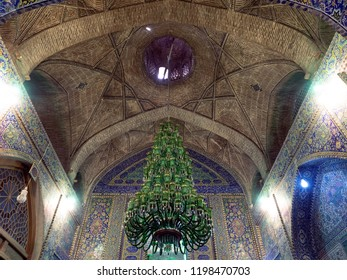 Isfahan, Iran - March 4, 2017 : Seyyed Mosque interior. It is the biggest and the most famous mosque from the Qajar era in Isfahan