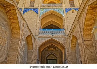 ISFAHAN, IRAN - MAY 7, 2015: Facade wall of the Ali Qapu Palace at the Imam square view from the indoor yard.