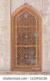 ISFAHAN, IRAN - MAY 8, 2015: Beautiful wooden windows in the Chehel Sotoun palace for entertainment and receptions.