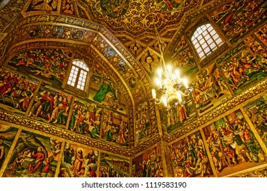 ISFAHAN, IRAN - MAY 8, 2015: The beautiful paintings on the walls and ceiling of the Vank Cathedral interior.