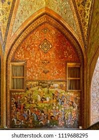 ISFAHAN, IRAN - MAY 8, 2015: Beautiful wall painting of the Chehel Sotoun palace interior.