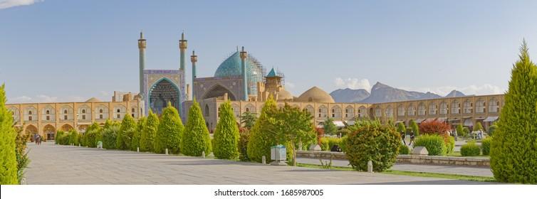 ISFAHAN, IRAN - MAY 9, 2015: View to the promenade at the Imam square and big Shah mosque.