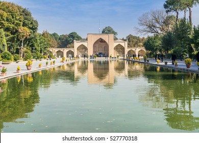 ISFAHAN, IRAN - November 11th, 2016, Editorial  : Park of Palace Chehel Sotoon which is also called Forty Columns palace and built in 1647 in Esfahan