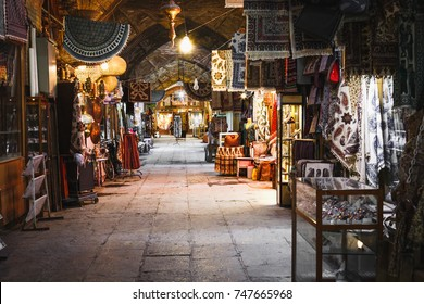 ISFAHAN, IRAN - OCTOBER 06, 2016: traditional iranian souvenirs in market (Bazaar) in Isfahan, Iran. Bazaar of Isfahan is the most important tourist attraction.