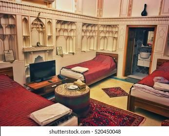 Isfahan, Iran - October 19, 2016: Room in traditional hotel in Isfahan city