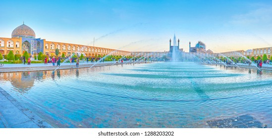 ISFAHAN, IRAN - OCTOBER 19, 2017: Nashq-e Jahad Suare is the main tourist place in the city with amazing landmarks around the large walking area, on October 19 in Isfahan