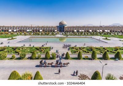 Isfahan, Iran - October 20, 2016: View on main square of Isfahan city called Naqsh-e Jahan Square
