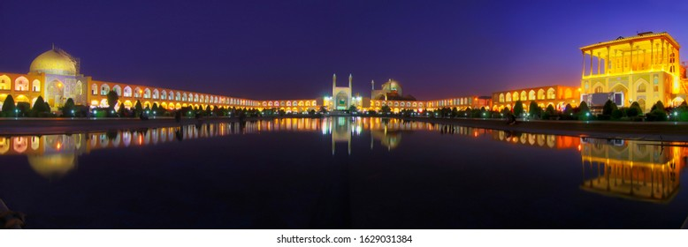 Isfahan Iran panoramic landscape beautiful blue hours popular touristic destination Naqshe Jahan Square all best place panorama Qapu palace, Imam Mosque, Sheikh Lotfollah Mosque reflections