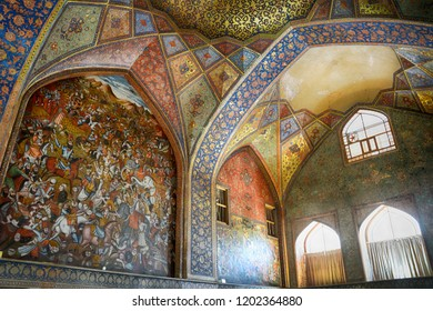 ISFAHAN, IRAN - SEPTEMBER 1: Chehel Sotoun Palace 1 September, 2018 at Isfahan, Iran. Chehel Sotoun is an old Qajar palace with a beautiful garden.