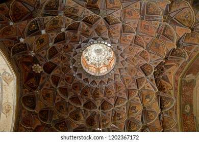 ISFAHAN, IRAN - SEPTEMBER 1: Hash Behest Palace 1 September, 2018 at Isfahan, Iran. Hash Behest is an old Qajar palace with a beautiful garden.