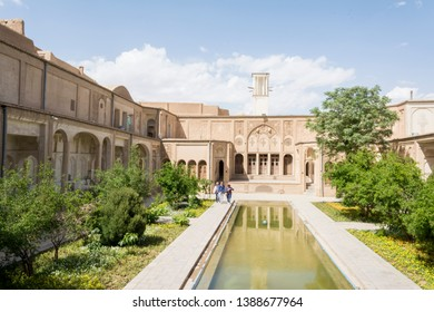 Isfahan Province- Kashan  IRAN-April 30, 2019 Traditional persian courtyard, Borujerdi house in kashan