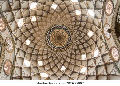 Isfahan Province- Kashan  IRAN-April 30, 2019 Ceiling pattern in borujerdi house from below viewpoint , kashan, isfahan province, Iran, UNESCO world heritage site