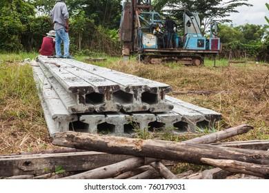 I-shape concrete pile for driven friction pile drop hammer