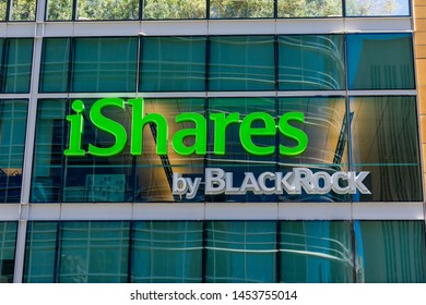 iShares by BlackRock sign and logo on glass facade of financial company office building - San Francisco, California, USA - July 12, 2019