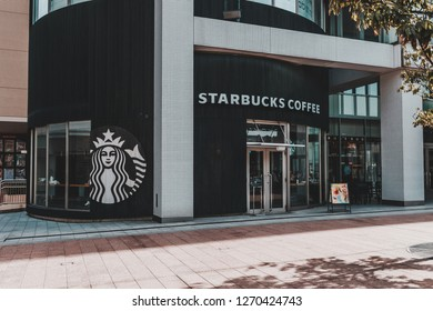 Ishikawa, Japan - April 10, 2017: Starbucks Coffee Shop in front of Kanazawa Station featuring monotone decoration and round shape building