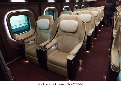 ISHIKAWA , JAPAN - APRIL 6 : Gran class seats of E7 Series bullet train on April 6 , 2015 in Ishikawa, Japan. Gran class is the most luxury seat class in Japanese train.