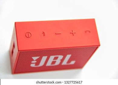 Ishimbai, Russia -  February 28, 2019: JBL bluetooth red speaker isolated on a white background.
