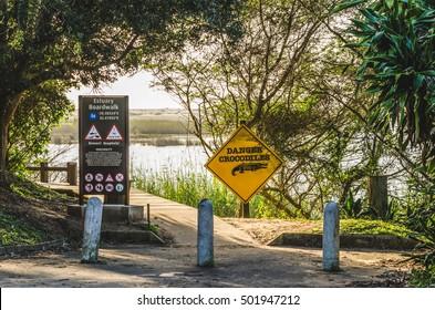 Isimangaliso wetland, danger crocodiles sign, St Lucia estuary South Africa