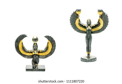 ISIS is goddess of Ancient Egypt, which became a model for understanding Egyptian ideal of femininity and motherhood. Isis wings goddess figurine isolated on white background