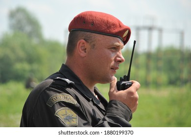"""ISKITIM, SIBERIA, RUSSIA - JUNE 8,2011:Officer of the special purpose unit """"Ermak"""" of the Internal Troops of the Ministry of Internal Affairs of Russia"""