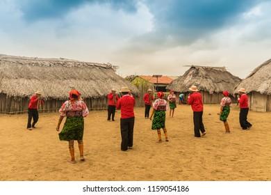 Isla Caledonia, San Blas islands, panama. March 2018. A view of a traditional dance on Isla caledonia in San Blas Islands in Panama.