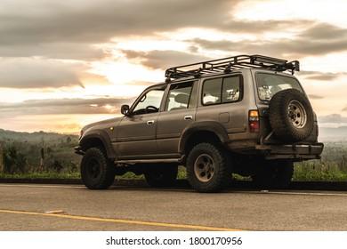 Isla de Jupiter, Esmeraldas / Ecuador - 2017 : Off road car on the road with dramatic background light