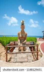 ISLA MUJERES, CANCUN, MEXICO - JUNE 30, 2018: When explorers first came to Isla Mujeres, they were introduced to the Myan goddess, Ixchel representing fertility.