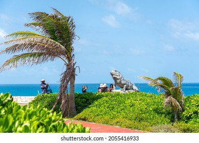 Isla Mujeres, Cancun, Mexico - September 13, 2021: Punta Sur - Southernmost point of Isla Mujeres, Mexico. iguana statue on the island of Isla Mujeres
