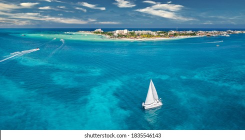 isla mujeres island near Cancun Mexico with sail boat