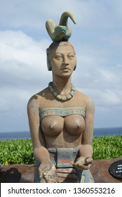 Isla Mujeres, Mexico - April 24, 2015. Ixchel is a Mayan goddess of midwifery, fertility, and medicine in ancient Maya culture. Some women come to Isla Mujeres as piligrimage to this statue.