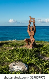 ISLA MUJERES, MEXICO - JULY 13, 2015: Sculpture Park (2001) in area of Chac-Mool Templo Maya Diosa Ixchel - open air museum with a mayan related theme - one of most captivating gardens of world art.