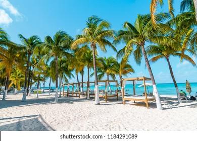 Isla Mujeres, Mexico - October 14, 2017: Playa Norte on Isla Mujeres.