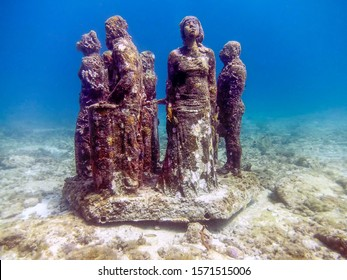 Isla Mujeres, Quintana Roo / Mexico - September 2016: MUSA - The Museum of Underwater Art in Isla Mujeres near Cancun in Mexico