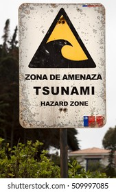 ISLA NEGRA-NOVEMBER 16, 2014: Chile is the country with more earthquakes and tsunamis. In all coast from Chile there are sign warning of the threat of tsunamis in Isla Negra on November 16, 2014