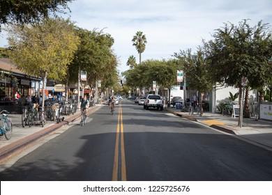 Isla Vista, California / USA - November 1, 2018:  View down Pardall Road, the main street in downtown Isla Vista, off campus from the University of California Santa Barbara (UCSB)