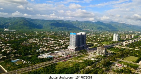 Islamabad is the capital city of Pakistan, and is federally administered as part of the Islamabad Capital Territory. This aerial view was taken in March,2019.