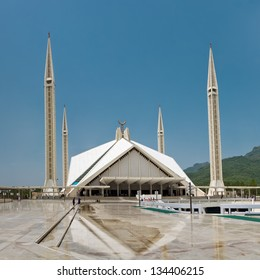 ISLAMABAD - JULY 16: Faisal Mosque on July 16, 2011 in Islamabad. It is the largest mosque in Pakistan and South Asia and named after late King Faisal of Saudi Arabia who financed the project.