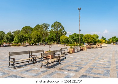 Islamabad Lake View Park Picturesque Breathtaking View of Sitting Benches on a Sunny Blue Sky Day